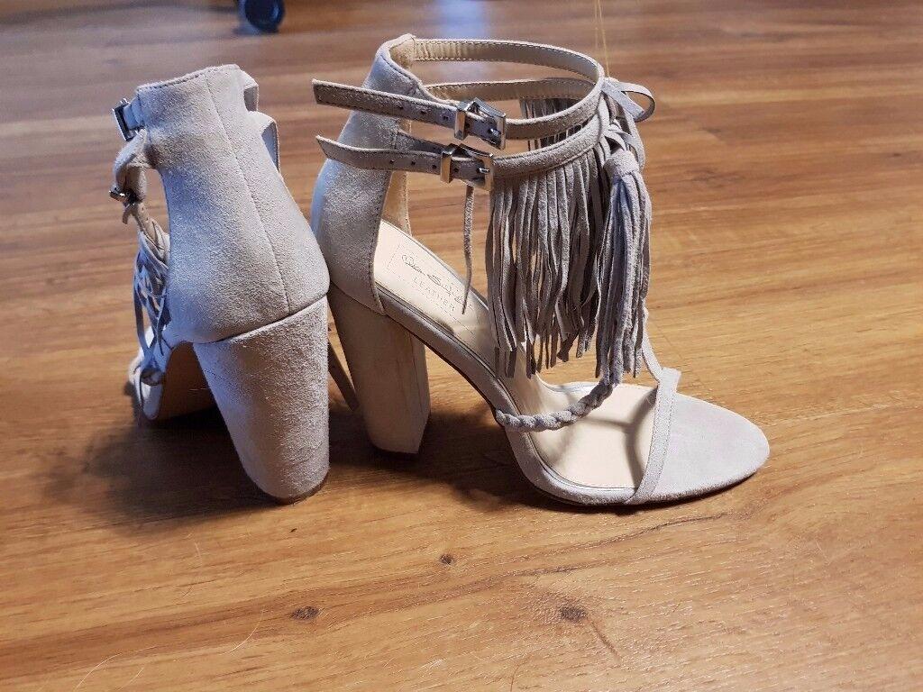 Ladies grey fringed high heels miss selfridge real leather