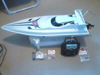 Radio Controlled Nitro Boat with controller and spares.Ready to run.