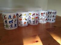 5 assorted Tyrrell Katz mugs