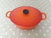 Le Creuset Oval cast iron casserole dish Volcanic Orange