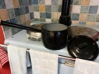 black enamel long handled cooking pot