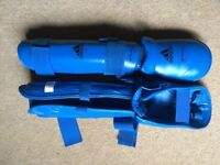 Blue Adidas Karate WKF Approved Leg & Foot Protectors - Size Medium