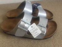 NEW Birkenstock sandals, silver, size 4