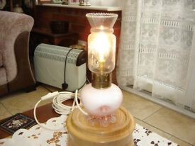 antique old pretty pink glass & brass oil lamp