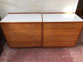Pair of large large solid teak chests with Formica tops