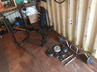 Weight bench, barbells, dumbbells, weight set