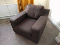 Armchair , Modern Design, John Lewis, Fabric , Square Arm , Red or Brown