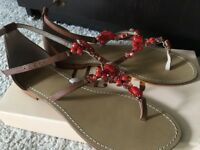 Brand new leather upper red beaded sandals size 5