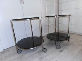 Pair glass trolley table