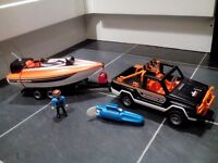 Playmobil truck and trailer with boat