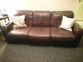 Brown leather 3 seater sofa from a smoke free home