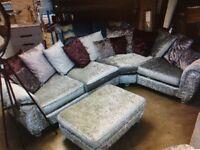 large crushed velvet corner sofa with footstool