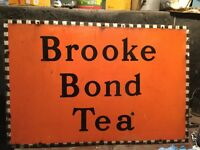 """ORIGINAL and unrestored Brook Bond Tea Sign. Steel and Enamel. 30"""" wide by 20"""" approx."""