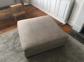 Large grey footstool / ottoman / pouffe - beautiful, high-quality, designer piece