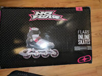 "Used once - Black + pink ""No Fear"" size 4 womens roller blades + knee/elbow pads"