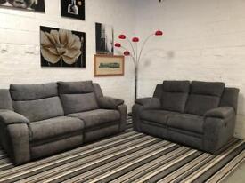 Brand New DFS Manual Reclining Sofa Set In Grey Fabric.