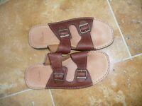 Clarks slip on mans tan leather sandal - size 10