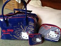 "Girl's overnight bag, make-up/wash bag and purse. ""My Kitty"" design"