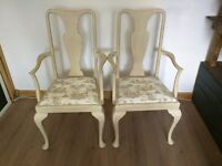 Pair of Antique Queen Anne dining carver chairs. French style shabby chic, distressed.