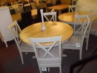 Brand new kentucky solid wood round dining table + 4 matching chairs in oak/grey