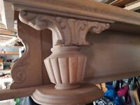 7 FOOT OAK MANTLE SHELF OLD IN VERY GOOD CONDITION
