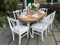 Dining Table & 6 Chairs ~ Pine ~ Champagne Crushed Velvet Seats