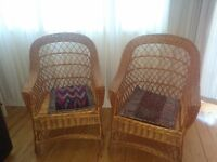 Two wicket chairs in prime condition