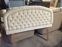 Double bed with quilted headboard