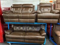 NEW - EX DISPLAY LEATHER SOFOLOGY SRENTO BROWN LEATHER 3 + 2 + 1 SEATER SOFA SOFAS 70% Off RRP SALE