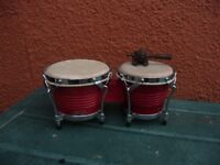 STAGG BW-200 BONGO RED DRUMS& GUIRO WOODEN PERCUSSION FROG