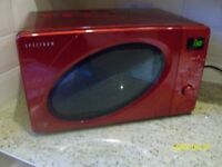 RED 'DUNELM' DIGITAL MICROWAVE OVEN - NEW CONDITION