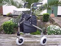 CHROME 3 WHEEL ROLLATOR WITH HEIGHT ADJUSTMENT .