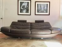 Contempo branded, stylish, modern, Italian leather sofa (Grey / Brown) Offers Considered!
