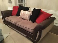 DFS Faux Leather & Fabric 3 Seater Sofa & Swivel Cuddler For Sale