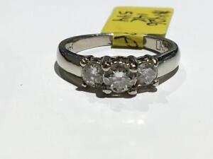 #1426 14K WHITE GOLD PAST PRESENT FUTURE ENGAGEMENT RING *MADE IN CANADA* *SIZE 5 1/4* JUST BACK FROM APPRAISAL AT $3550