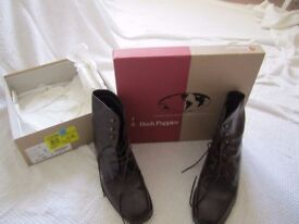Brown leather genuine Hush Puppies Ladies ankle boots UK size 6.