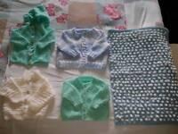 Handknitted 4 cardigans & pram cover
