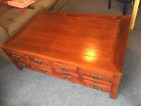 Beautiful wooden coffee table with 16 drawers