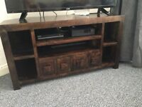 Livingroom Furniture Set. Mango Dark Wood Corner TV Unit and matching Book Case