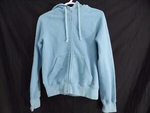 TNA (ARITZIA) zip up front sweatshirt hoodie exercise jacket light blue size small gently used