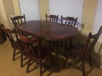 Large Wooden Dining Table & Chairs