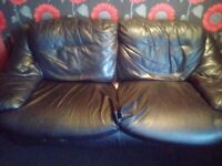 Three seater sofa no chairs leather
