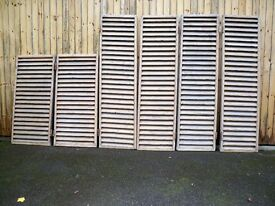 6 Antique Vintage Shabby Chic Wooden Rustic French-Style Louvre Window Shutters plus iron works.