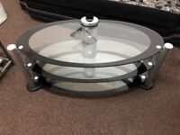 Oval Glass Chrome Tv Stand Solid Toughened Glass 110Cm Wide