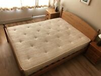 solid pine king size bed with mattress & storage delivery available