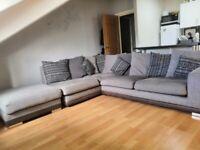 Grey Corner Sofa + Pouffe