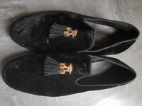 ZARA Black Velvet shoe wit Gold tassels UK Size 7 Pre-Owned