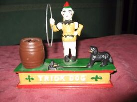 Vintage Circus Clown and Trick Dog authentic foundry iron mechanical bank