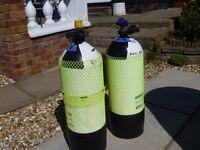 Two 15 litre Steel Scuba Diving Bottles