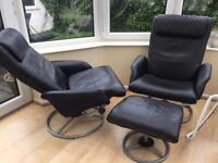Ikea Black Leather Look Swivel Reclining Chairs (x2) with footstool (x1)